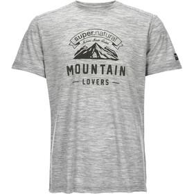 super.natural M's Graphic Tee Ash Grey Melange/Mountain Lovers Logo
